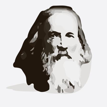 Dmitri Mendeleev - vector portrait of the scientist