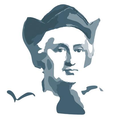 retrato de Cristóbal Colón - marinero español y viajero
