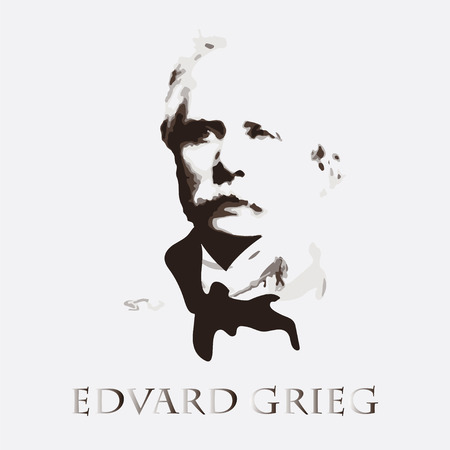 famous people: portrait of the composer and musician Edvard Grieg Illustration