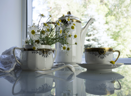 tableware life: still life in white - antique splendid porcelain tableware, a bouquet of daisies