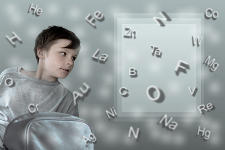 mendeleev: Children and formulas. cute girl with school backpack on the background of table of Mendeleev