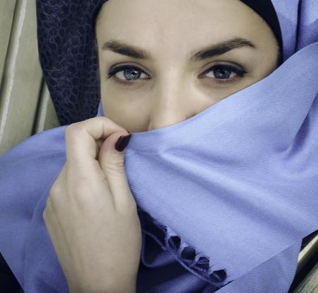 burqa: muslim girl. Young arabian woman in hijab. Stock Photo