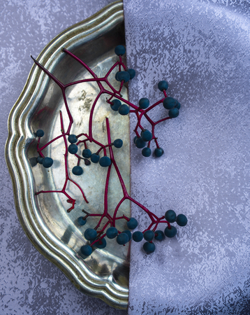 still life. antique silver dish, silk and bunches of wild grapes. close-up.