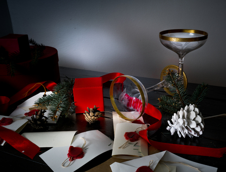 12 month old: vintage antique glasses on Christmas table with letters, envelopes and invitations