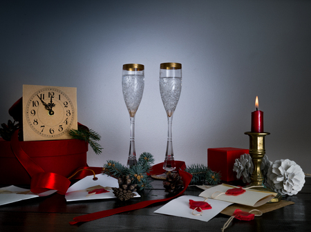 12 month old: vintage antique glasses on Christmas table with letters, envelopes and invitations Santa Claus