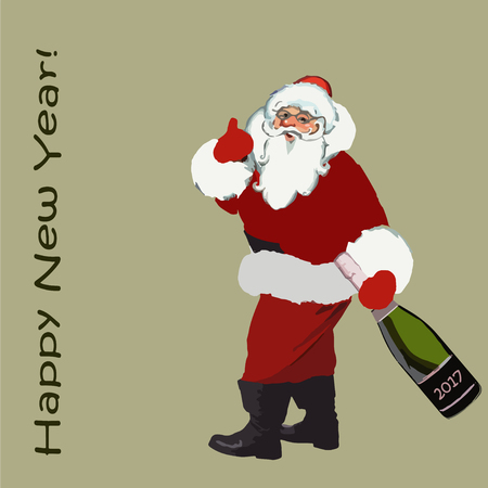 2017. Christmas. Santa Claus with a bottle of champagne in hand and an inscription happy new year.