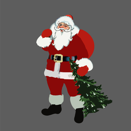 2017. Christmas. New Year. Santa Claus with a bag on his shoulders and tree in hand. Illustration