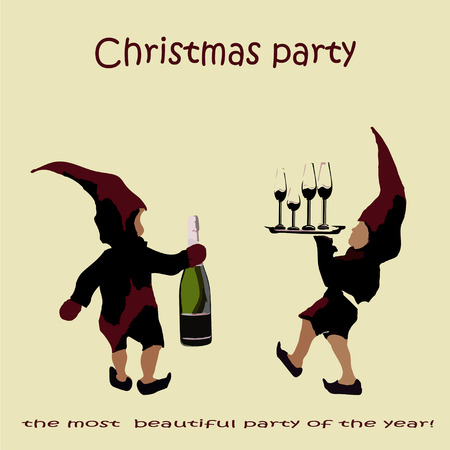 an invitation to a Christmas party. the elves of Santa Claus with champagne. new Year