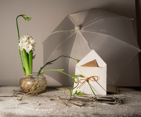 Still Life with an umbrella, letter, envelope and hyacinths freesias in glass vases. Stock Photo