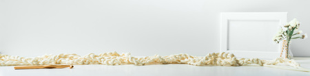 Header, banner for site design. Needlework, handmade. knitting and crocheting, yarn. Horizontal format, space for text