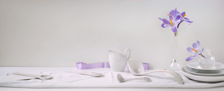 Header, banner for site design. Set of dishes for serving. Horizontal format, space for text Stock Photo