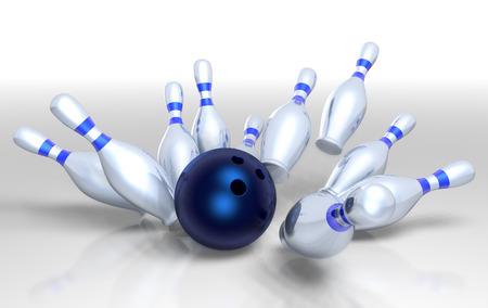 3D render of a bowling ball smashing the ten pins for a strike! Standard-Bild