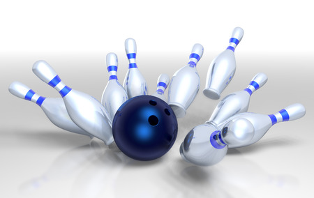 3D render of a bowling ball smashing the ten pins for a strike! Stock Photo