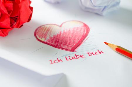 Heart in love letter