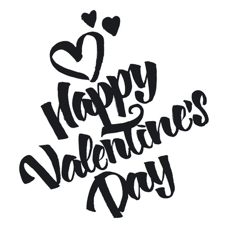 heart sketch: Rough marker lettering of Happy Valentines Day