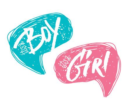 Jongen of meisje bellen voor baby shower kaart. Handgeschreven en schetsmatig.