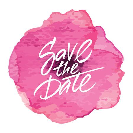 벡터 웨딩 카드 디자인 수채화 꽃 '날짜를 기억해 두세요'