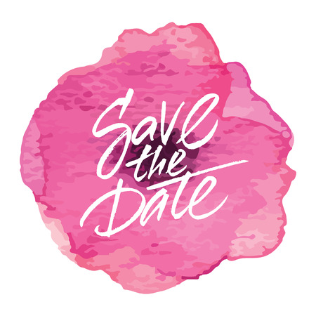 Vector wedding card design 'Save the Date' on watercolor flower