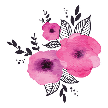 floral vectors: Vector floral watercolor frame with pink flowers Illustration