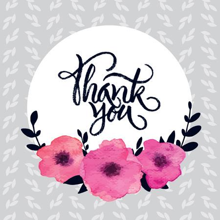 「ありがとうございました」とピンクの水彩花のフレーム レタリング ブラシ  イラスト・ベクター素材