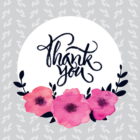 Pink watercolor floral frame with 'Thank you' brush lettering Çizim