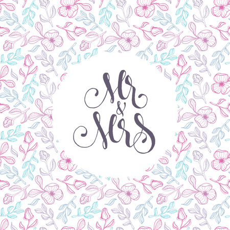 Vector floral template for wedding cards Mr and Mrs  on delicate flowers background