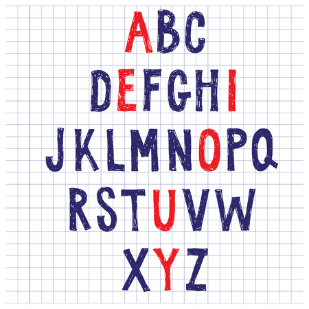 uppercase: Sketchy rough alphabet of uppercase letters Illustration
