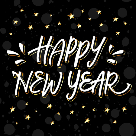 hand lettering: Happy New Year! Golden and white hand lettering with golden stars on black background. Illustration