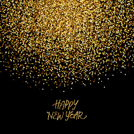 Gold glitter confetti background 'Happy New Year' Illustration