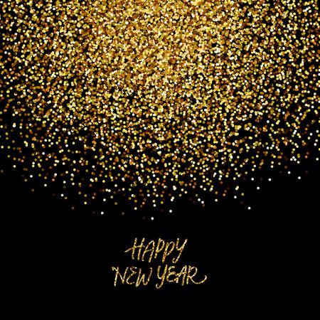 """nowy rok: Złoty brokat konfetti w tle """"Happy New Year"""""""