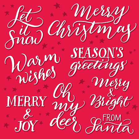 set of christmas quotes for greeting cards on red background handwritten calligraphy stock vector - Christmas Quotes For Cards