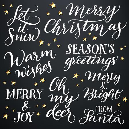 vacanza: Set di mano calligrafica vacanze sulla neve citazioni