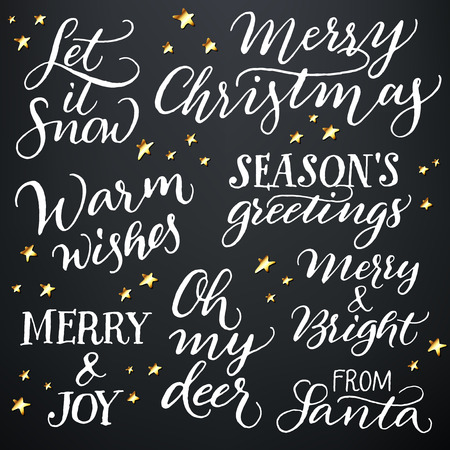 merry: Set of hand calligraphic winter holidays quotes Illustration