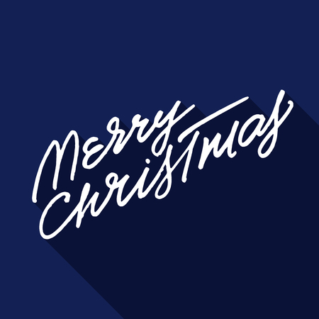 rough: Rough hand lettering Merry Christmas on blue background