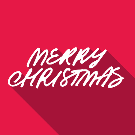 gift season: Rough hand lettering Merry Christmas on red background
