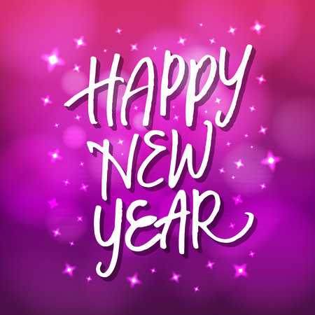 hand lettering: Hand lettering Happy New Year on sparkling blurred background. New year card or poster design.
