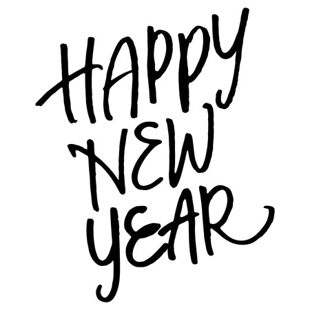 scripts: Hand lettering Happy New Year isolated on white background. Illustration