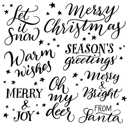 bright: Handwritten Christmas calligraphy. Set of hand lettering: Merry Christmas, Let it snow, Warm wishes, Seasons greetings, Merry and joy, Oh my deer, Merry and bright, From Santa Illustration