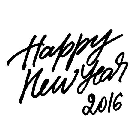 expressive: Rough expressive hand lettering Happy New Year 2016 isolated on white background