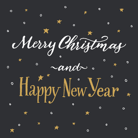 handwritten: Merry Christmas and Happy New Year. Handwritten  calligraphy on dark background with hand drawn sketchy pattern of white snowflakes and gold stars.