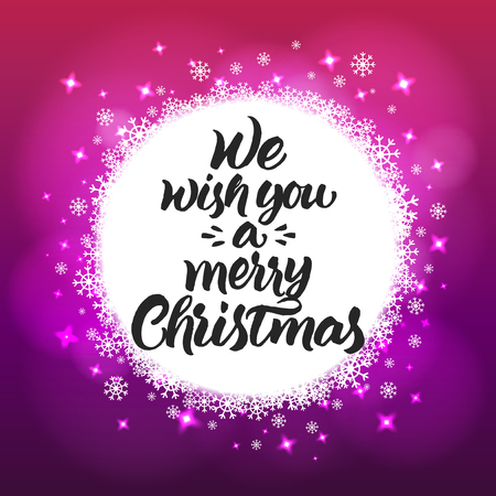 pink christmas: Hand painted brush lettering We wish you a merry Christmas. White snowflakes on violet and pink blurred background.