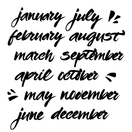 february: Hand painted names of months. Brush handwritten calligraphy. Vector lettering of january, february, march, april, may, june, july, august, september, october, november, december.