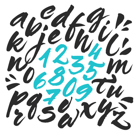 white letters: Hand painted brush alphabet. Expressive calligraphic brush script letters. Vector alphabet letters and numbers handwritten with black ink. Isolated abc on white background.
