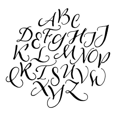 uppercase: Handwritten calligraphic uppercase letters Illustration