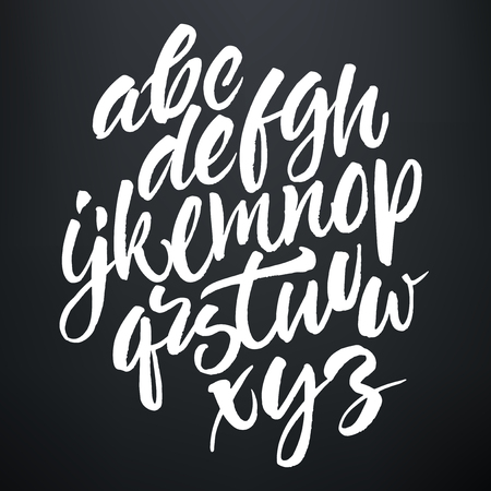 alphabet a: Vector handwritten brush script. White letters on chalkboard background.