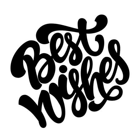 best wishes: Isolated hand drawn lettering Best wishes for greeting cards or posters Illustration