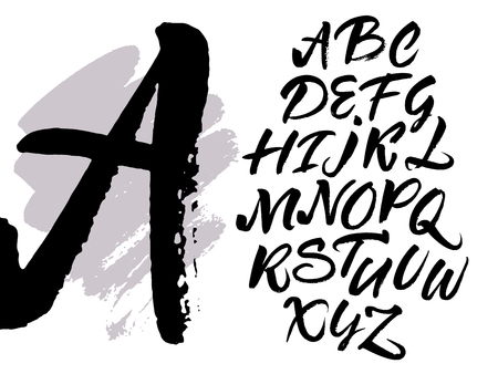 white letters: Expressive brush calligraphic handwritten script letters. Alphabet written with black ink.