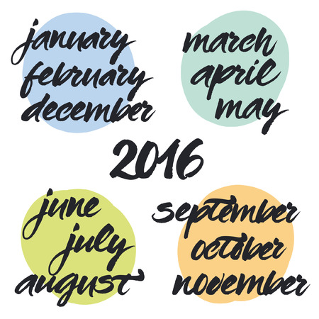 organiser: Handwritten brush lettering of 2016 year and all months. Vector hand painted calligraphy.