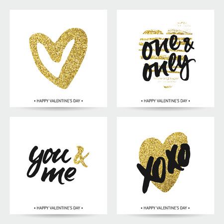 결혼식과 발렌타인 사랑 카드. 잉크와 스파클링 황금 손으로 그린 하트와 손 브러시 문자. 현대 붓글씨 디자인.