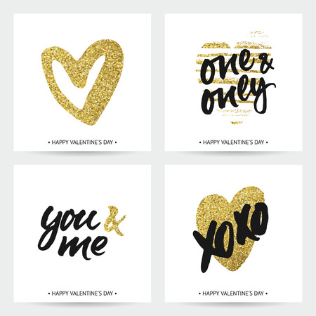 love: Love cards for wedding and Valentines day. Hand brush lettering with ink and golden sparkling hand painted hearts. Modern calligraphic design. Illustration